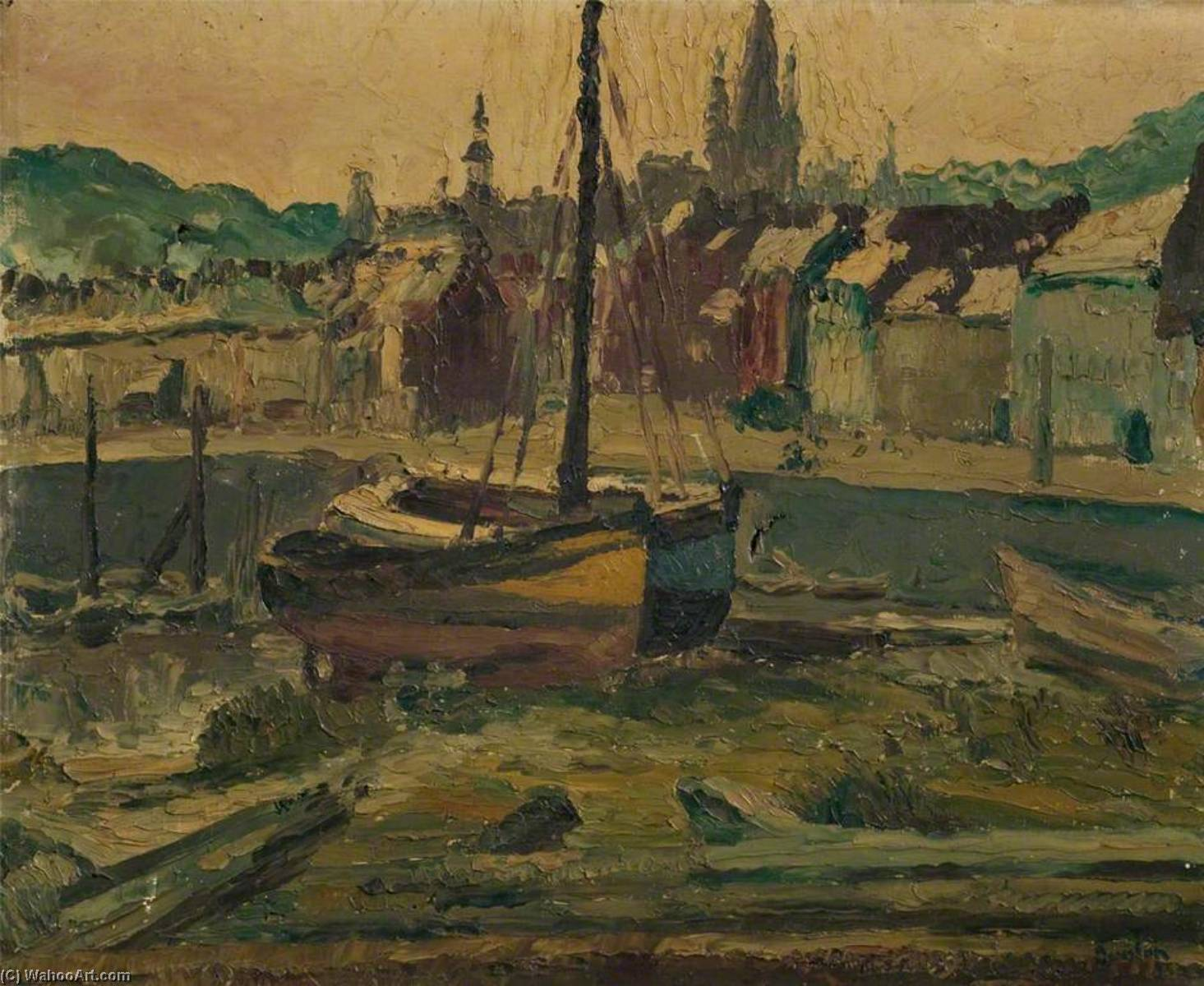 Les deux bateaux, Oil On Canvas by Ronald Ossory Dunlop (1894-1973, Ireland)