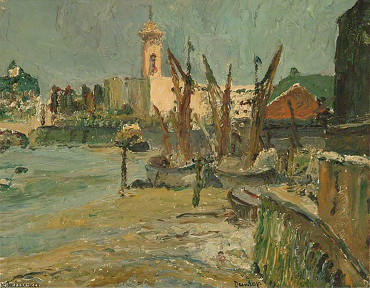 The Thames at Lambeth, London by Ronald Ossory Dunlop (1894-1973, Ireland) | Museum Quality Reproductions | WahooArt.com