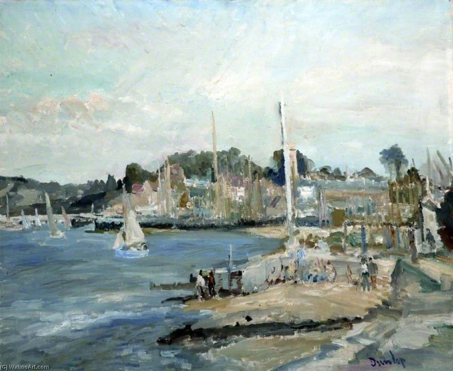 Harbour, Yarmouth, Isle of Wight, Oil On Canvas by Ronald Ossory Dunlop (1894-1973, Ireland)