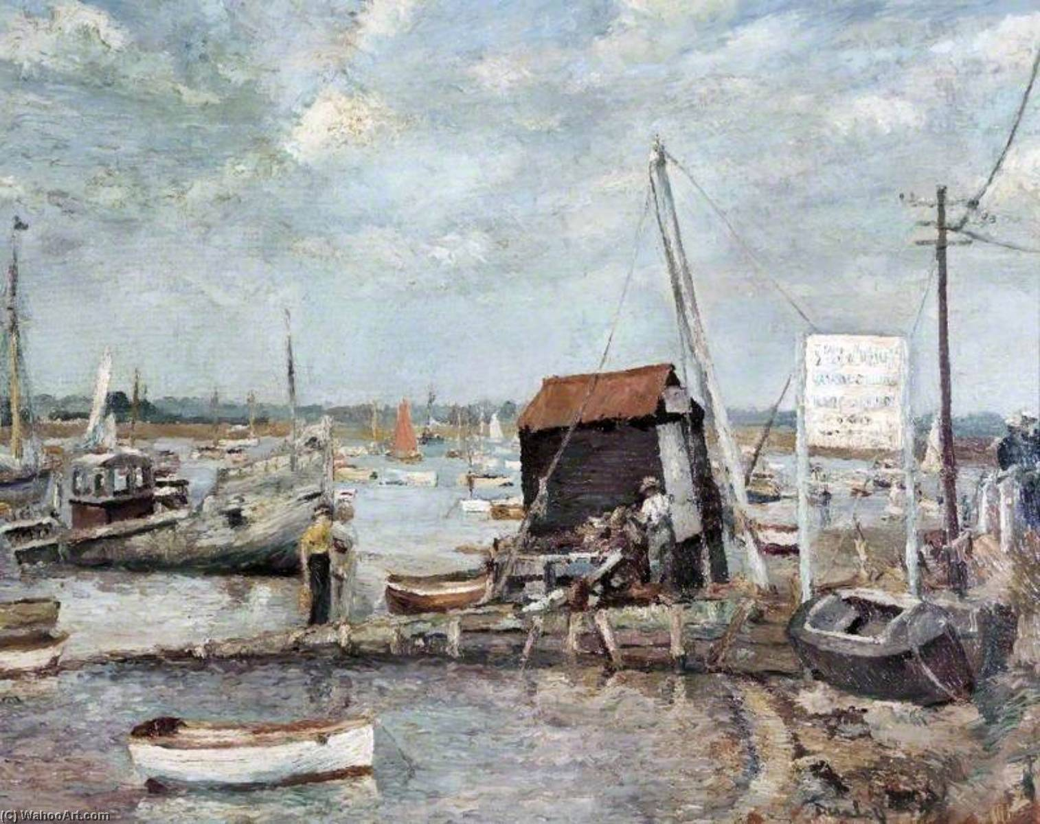The Hard, Mersea Island, Essex, Oil On Canvas by Ronald Ossory Dunlop (1894-1973, Ireland)