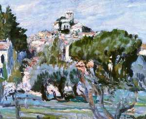 South of France, Oil by Ronald Ossory Dunlop  (order Fine Art Poster on canvas Ronald Ossory Dunlop)