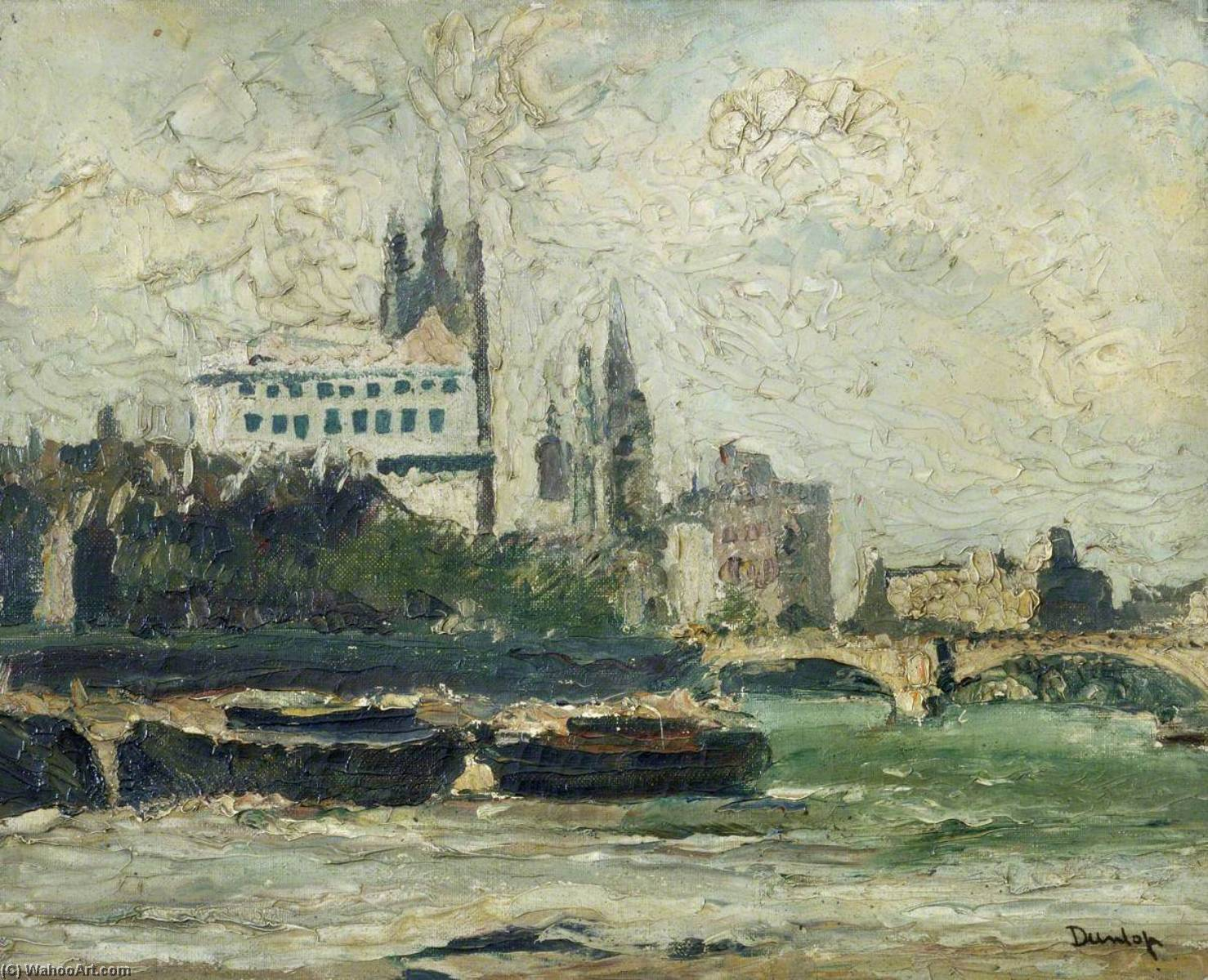 The Thames at Westminster, Oil On Canvas by Ronald Ossory Dunlop (1894-1973, Ireland)