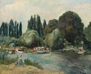 Ronald Ossory Dunlop - Boat Creek at Shepperton