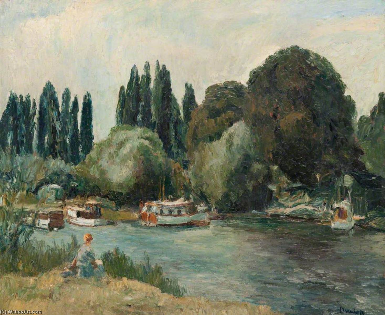 Boat Creek at Shepperton, Oil On Canvas by Ronald Ossory Dunlop (1894-1973, Ireland)