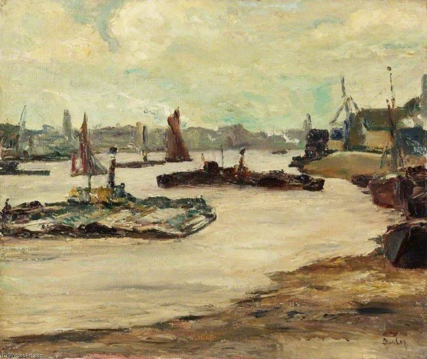 Tugboats on the Thames by Ronald Ossory Dunlop (1894-1973, Ireland) | Art Reproduction | WahooArt.com