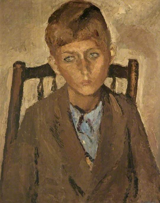 Portrait of a Young Boy by Ronald Ossory Dunlop (1894-1973, Ireland) | Painting Copy | WahooArt.com