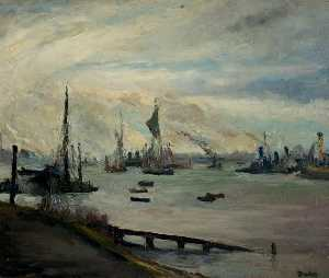 Ronald Ossory Dunlop - The Thames near Rotherhithe, London