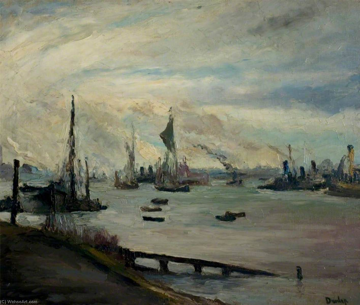 The Thames near Rotherhithe, London by Ronald Ossory Dunlop (1894-1973, Ireland) | Museum Quality Reproductions | WahooArt.com