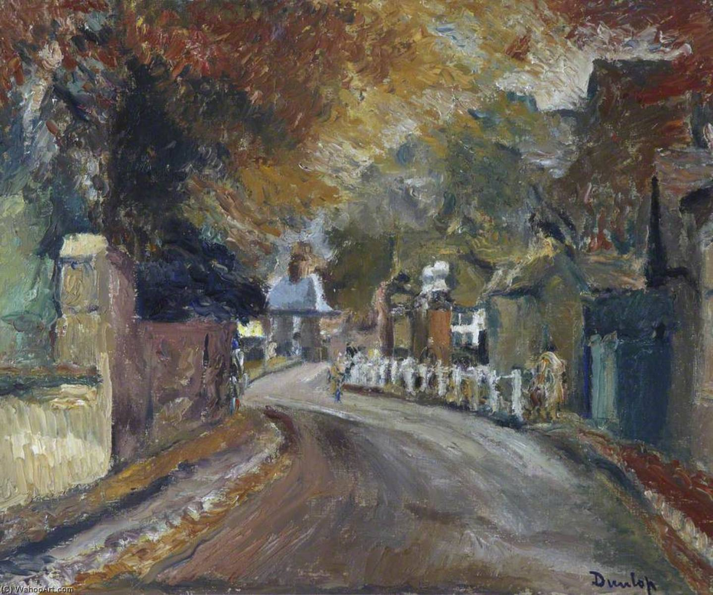 Autumn Street Scene by Ronald Ossory Dunlop (1894-1973, Ireland) | Art Reproduction | WahooArt.com