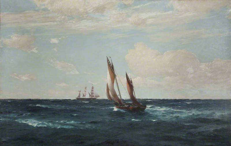 Hove to for a Pilot, 1896 by Thomas Jacques Somerscales (1842-1927) | WahooArt.com