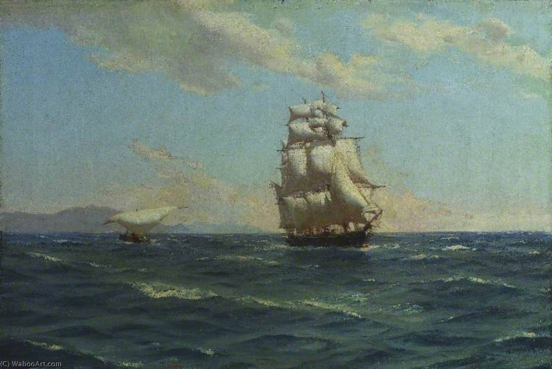 Off the Canaries (British Cruiser 'Auxiliary Steam'), 1892 by Thomas Jacques Somerscales (1842-1927) | WahooArt.com