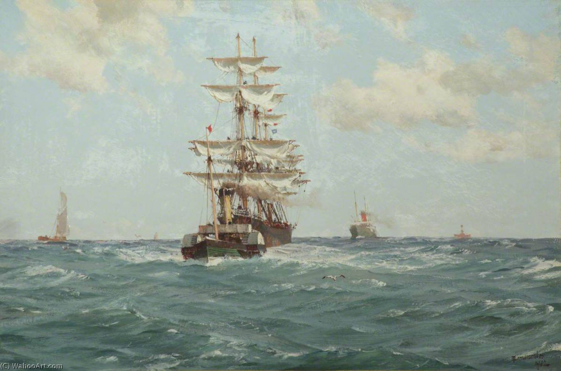 Paddle Tug Towing a Full Rigged Ship, Oil On Canvas by Thomas Jacques Somerscales (1842-1927)