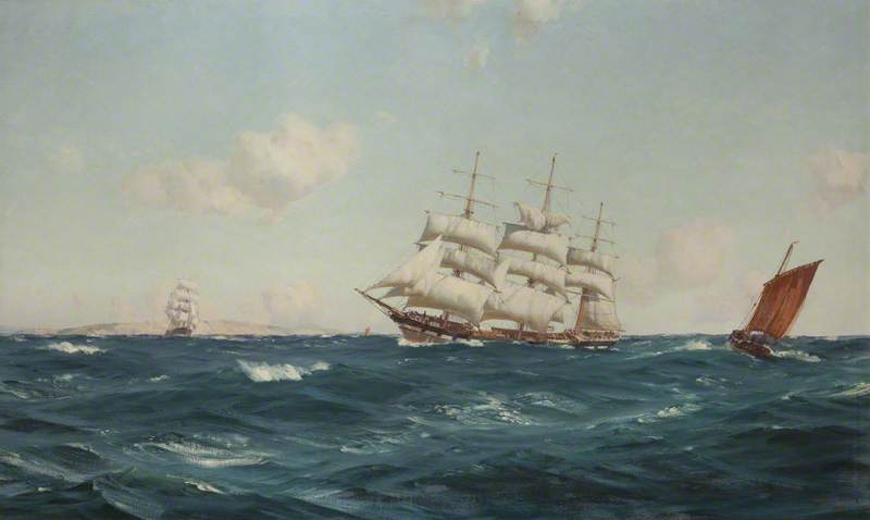 A Strong Breeze in the Channel, Oil On Canvas by Thomas Jacques Somerscales (1842-1927)