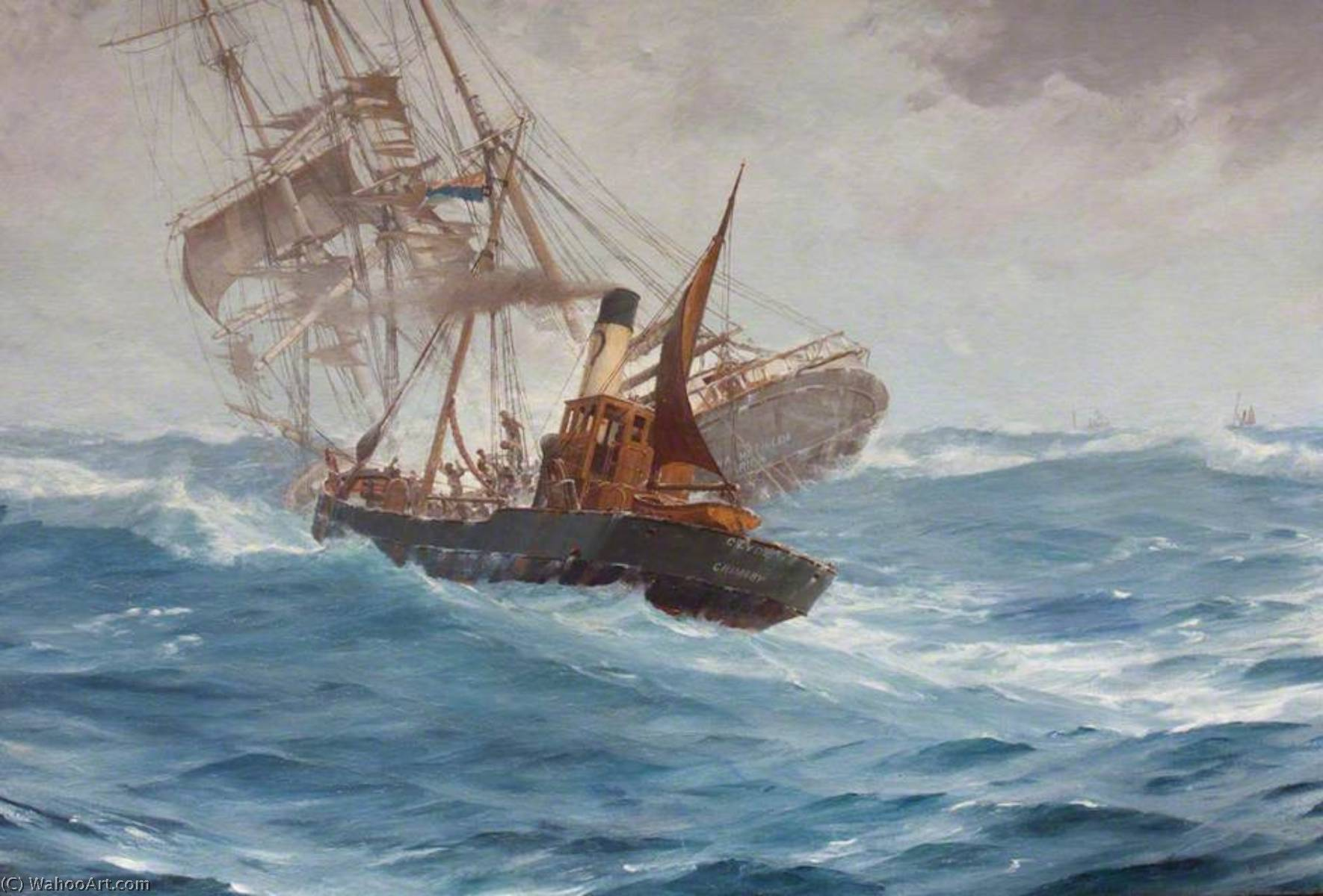 The Rescue of the 'Anna Mathilda' by the Trawler 'Clyde', GY 317, Oil On Canvas by Thomas Jacques Somerscales (1842-1927)
