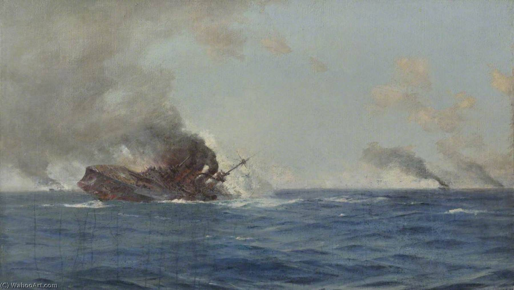 Sinking of 'The Scharnhorst' at the Battle of the Falkland Islands, 8 December 1914, Oil On Canvas by Thomas Jacques Somerscales (1842-1927)