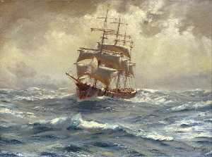 Thomas Jacques Somerscales - A Barque Running Before a Gale