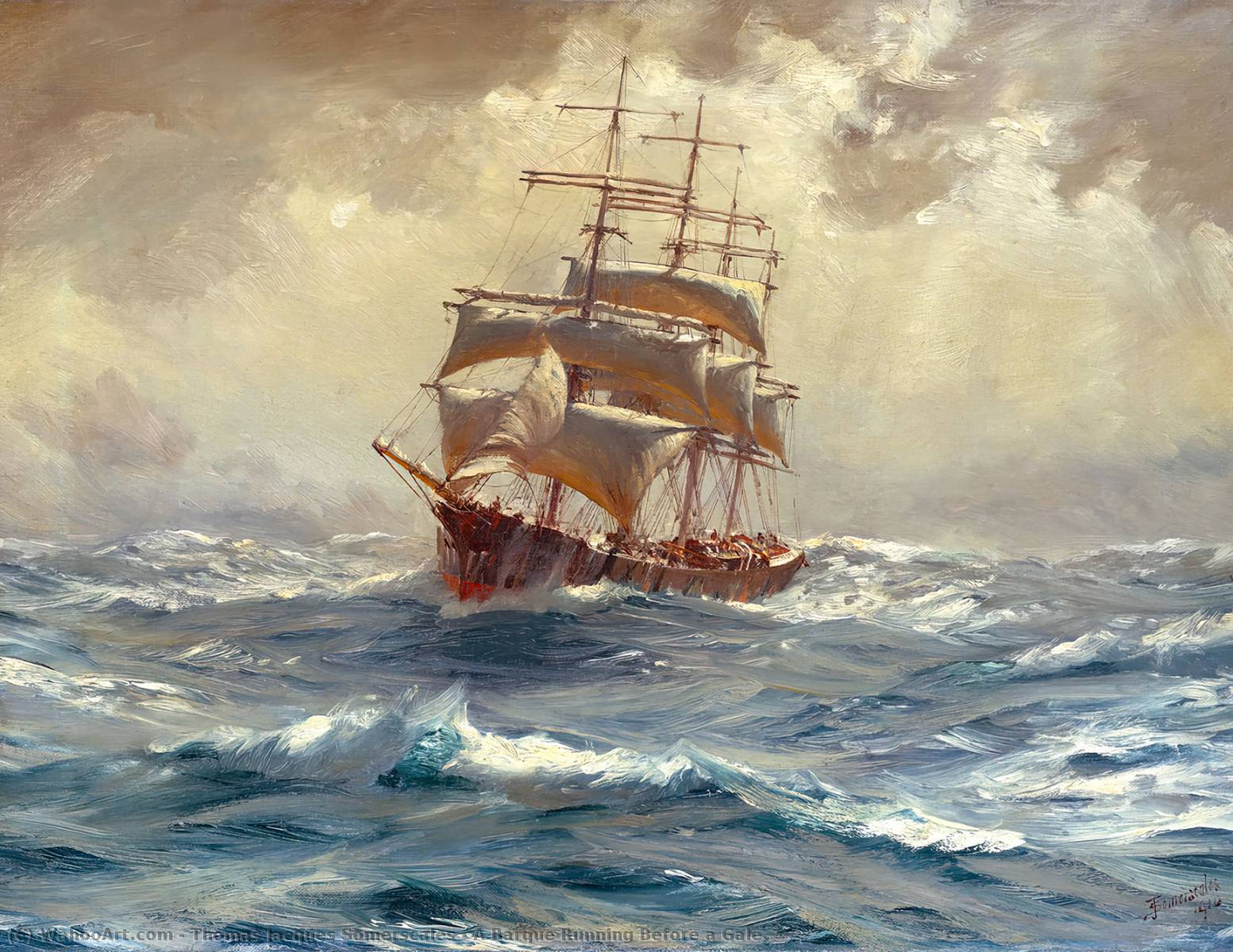 A Barque Running Before a Gale, 1910 by Thomas Jacques Somerscales (1842-1927) | WahooArt.com