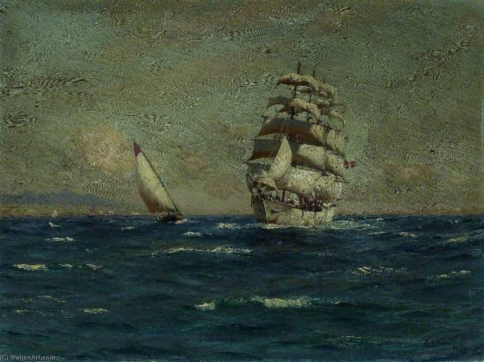 Sailing Vessels off the Coast, Oil On Canvas by Thomas Jacques Somerscales (1842-1927)
