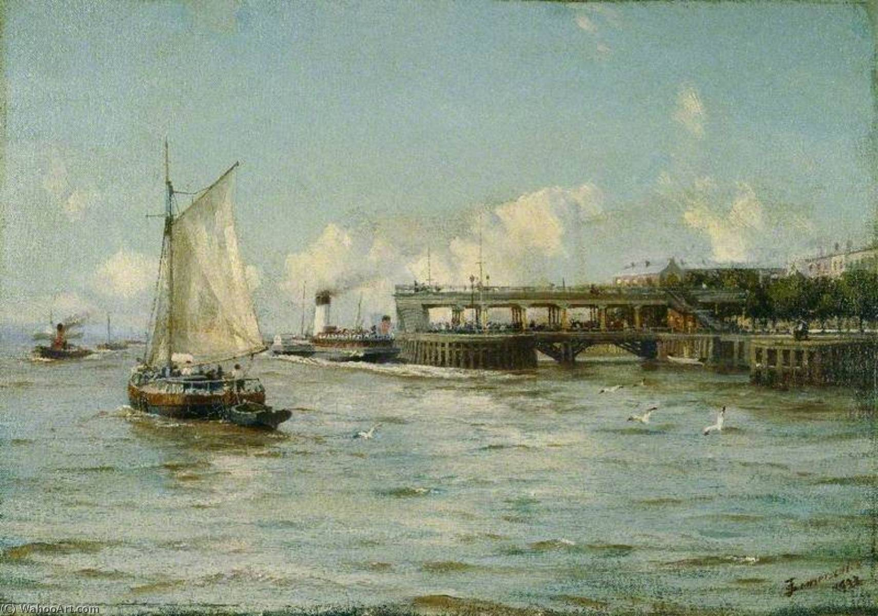 The Pier, Kingston upon Hull, 1922 by Thomas Jacques Somerscales (1842-1927) | Museum Art Reproductions Thomas Jacques Somerscales | WahooArt.com