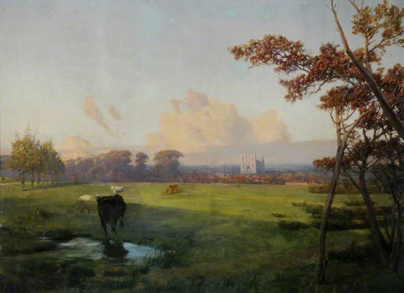 Panoramic View of Beverley, East Riding of Yorkshire, Oil On Canvas by Thomas Jacques Somerscales (1842-1927)