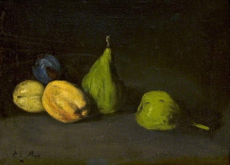 Still Life with Fruit, Figs and Apricots by Théodule Augustin Ribot (1823-1891, France) | Art Reproductions Théodule Augustin Ribot | WahooArt.com