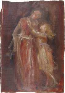 Anna Lea Merritt - Young Girl Embracing a Woman
