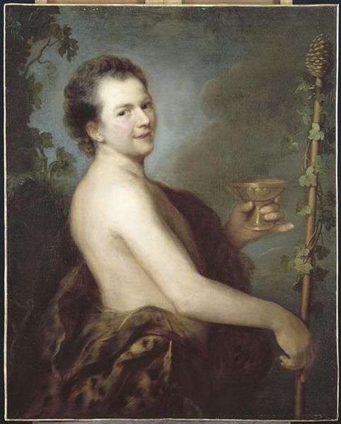Autoportrait en Bacchus Son portrait (ancien titre), Oil by Alexis Grimou (1678-1733, [1] France)