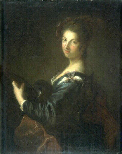 La joueuse de guitare, Oil by Alexis Grimou (1678-1733, [1] France)