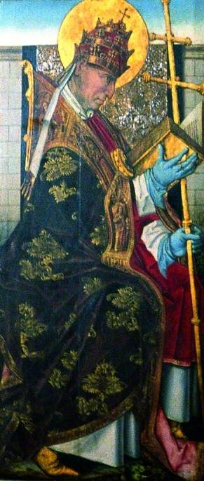St Gregory (verso), 1470 by Master Of The View Of Saint Gudule | Oil Painting | WahooArt.com