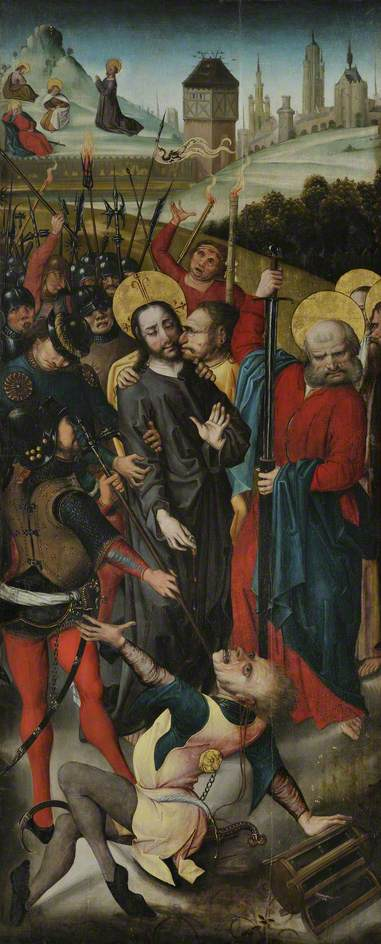 Betrayal of Christ, with the Agony in the Garden by Master Of The View Of Saint Gudule | Famous Paintings Reproductions | WahooArt.com