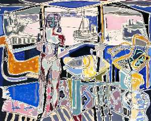 Patrick Heron - Harbour Window with Two Figures St Ives July 1950
