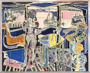 Patrick Heron - Harbour Window with Two Figures, St Ives July 1950