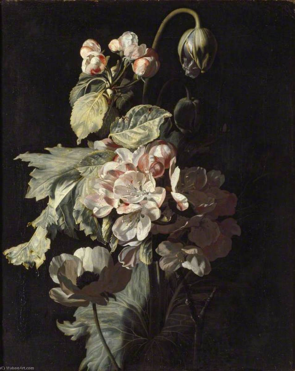 Still Life of Apple Blossom, 1689 by Simon Pietersz Verelst (1644-1721, Netherlands) | Museum Quality Copies Simon Pietersz Verelst | WahooArt.com