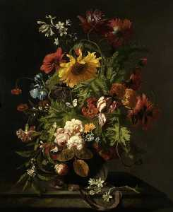 Simon Pietersz Verelst - A Vase of Flowers