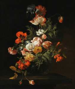 Simon Pietersz Verelst - Still Life of Roses and Other Flowers in a Glass Bowl on a Stone Ledge