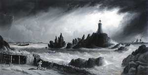Philip John Ouless - View of Corbiere Lighthouse, Jersey