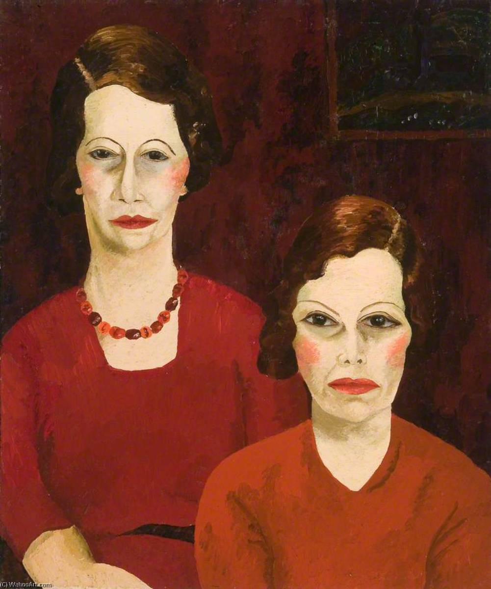 Two Sisters, 1935 by Cedric Lockwood Morris (1889-1982, United Kingdom) | Famous Paintings Reproductions | WahooArt.com