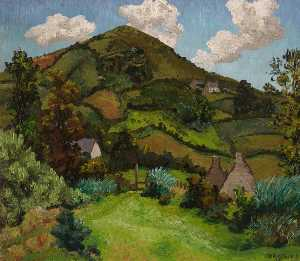 Harding Down, Llangynwyd, Bridgend, Oil On Canvas by Cedric Lockwood Morris  (order Fine Art Print on canvas Cedric Lockwood Morris)