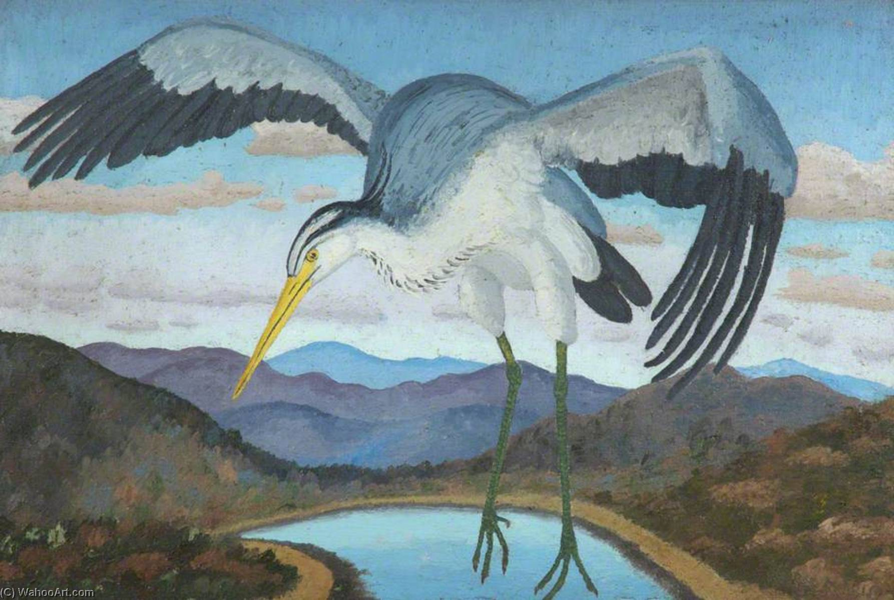 Heron, 1941 by Cedric Lockwood Morris (1889-1982, United Kingdom) | Museum Quality Reproductions | WahooArt.com