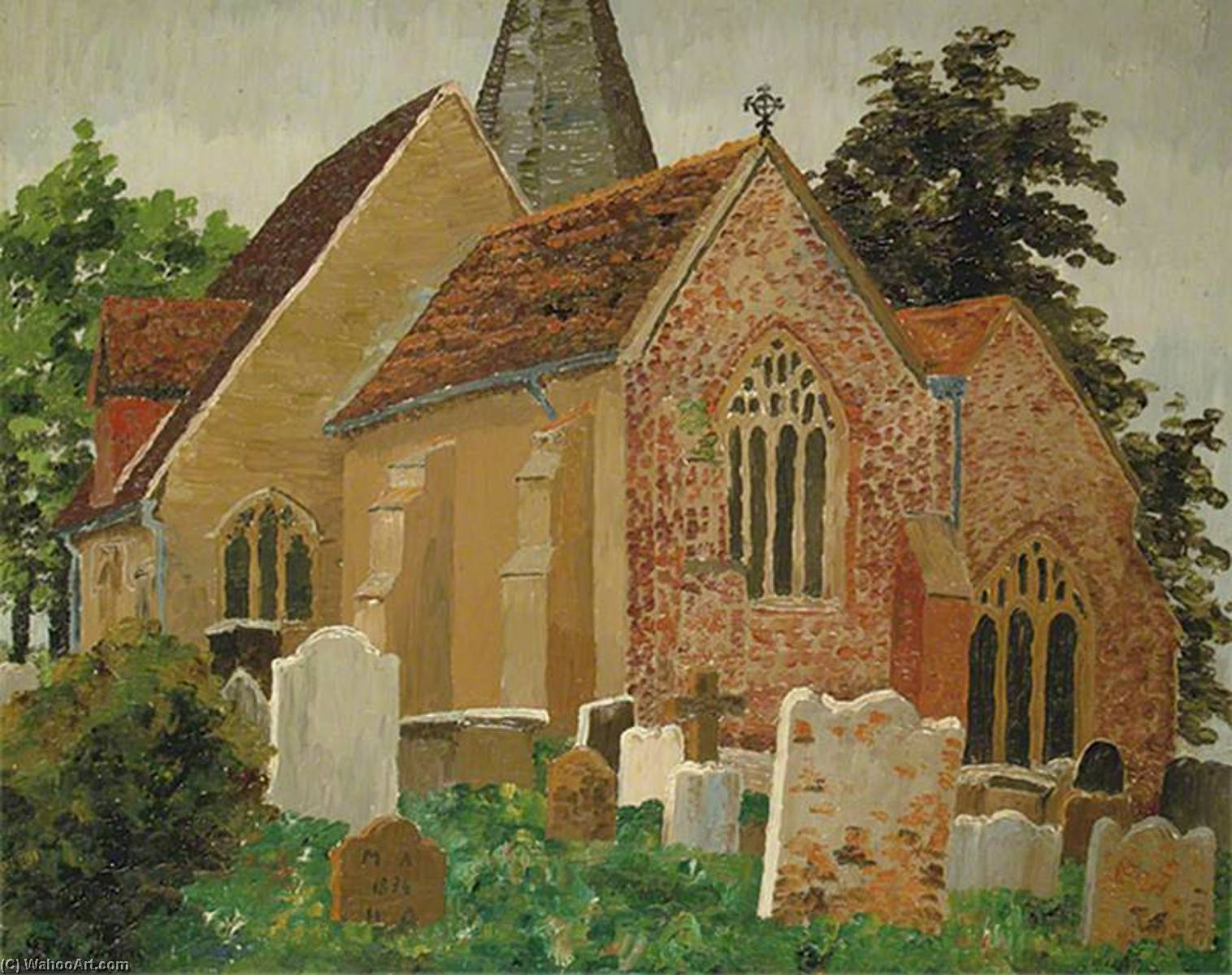 Herstmonceux Church, Hailsham, East Sussex, Oil On Canvas by Cedric Lockwood Morris (1889-1982, United Kingdom)