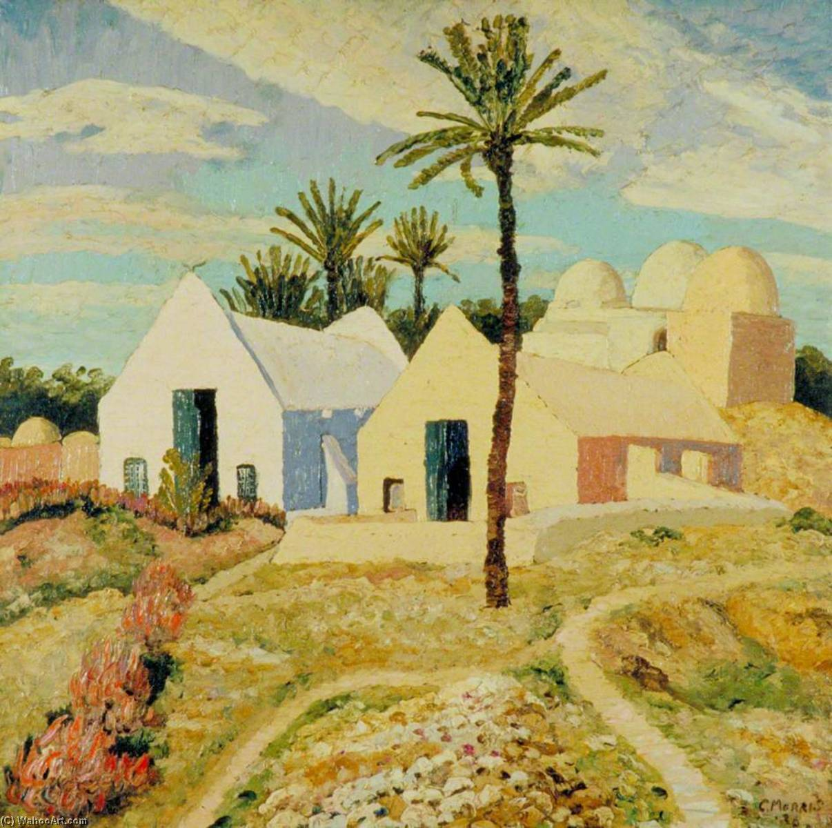Atelier Tapisseries, Djerba, Tunisia, 1926 by Cedric Lockwood Morris (1889-1982, United Kingdom) | Famous Paintings Reproductions | WahooArt.com