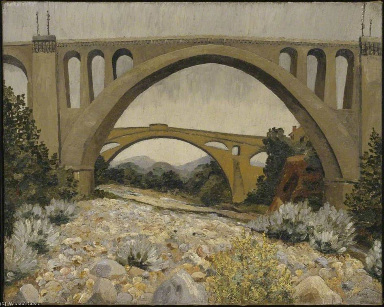 Les Ponts de Ceret, Oil On Canvas by Cedric Lockwood Morris (1889-1982, United Kingdom)