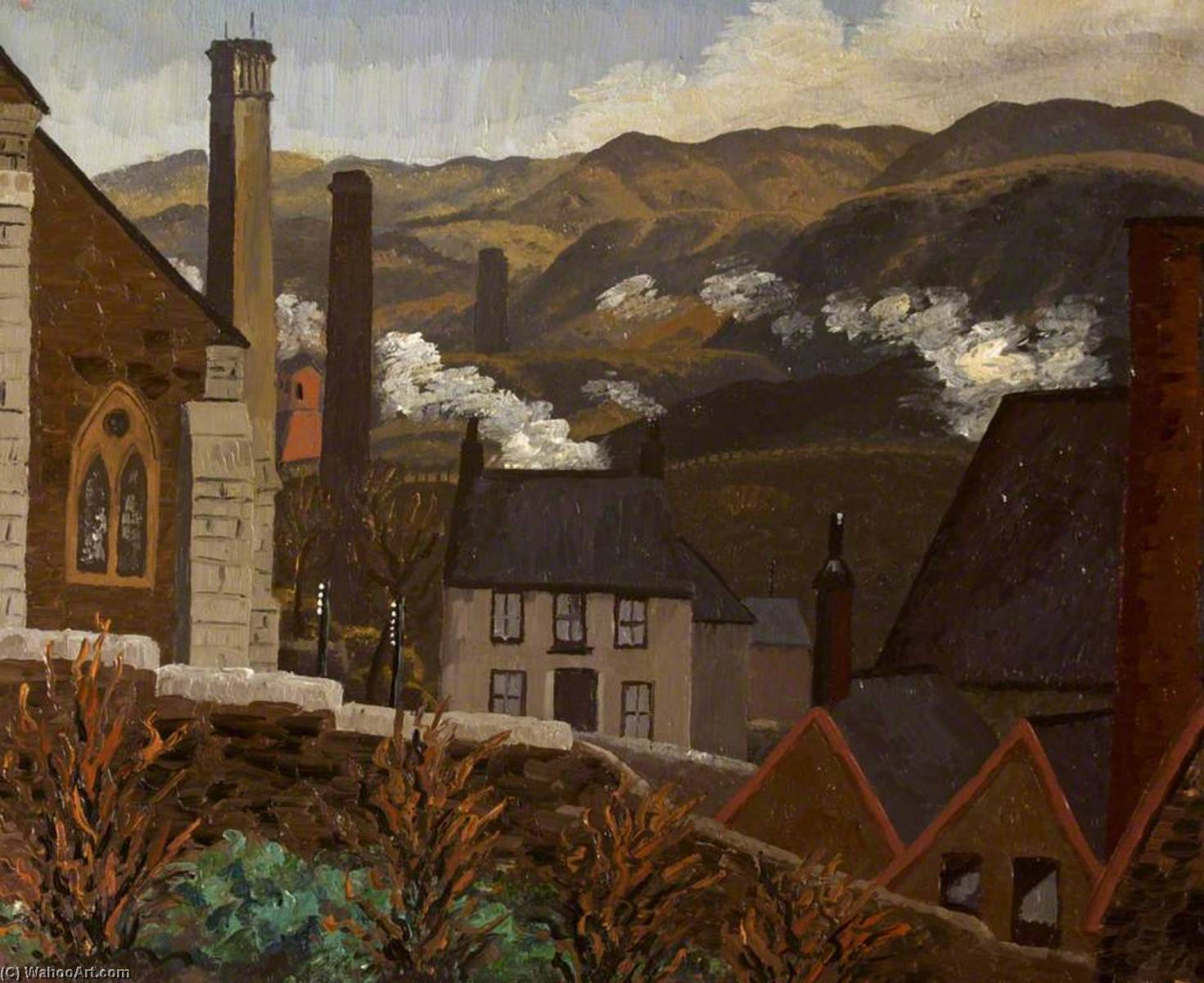 Dowlais from the Cinder Tips, Caeharris, 1935 by Cedric Lockwood Morris (1889-1982, United Kingdom) | Museum Quality Reproductions | WahooArt.com