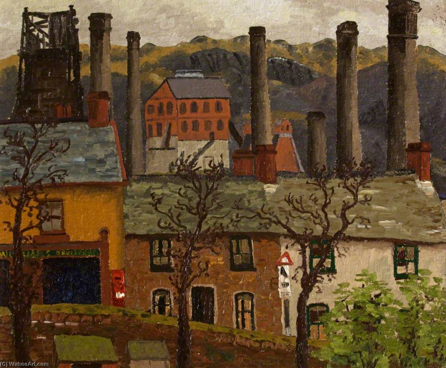 Caeharris Post Office from Gwernlwyn House, 1935 by Cedric Lockwood Morris (1889-1982, United Kingdom) | Famous Paintings Reproductions | WahooArt.com