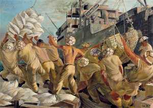 Leslie Cole - Malta No Time to Lose, Soldier Dockers Unloading a Convoy during a Raid