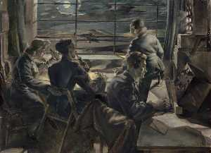 Leslie Cole - Night Scene in a Watch Office