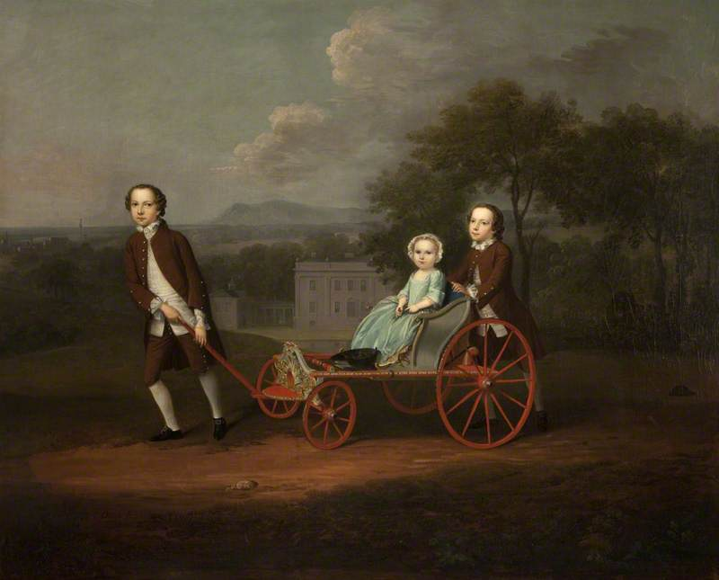 Richard, Mary and Peter – The Children of Peter and Mary du Cane, 1749 by Arthur William Devis (1712-1787, United Kingdom) | Art Reproductions Arthur William Devis | WahooArt.com