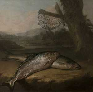 Arthur William Devis - Atlantic Salmon and Allis Shad, by the River Wye ( )