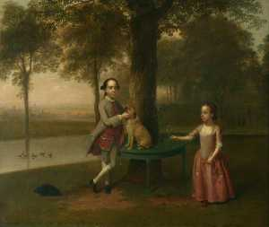 Arthur William Devis - Two Children and a Dog in a Park