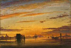 Edward William Cooke - Venetian Lagoons – Sunset